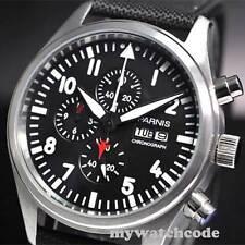 42mm parnis black week date window quartz Full chronograph mens watch 14