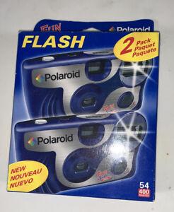 Pack Of 2 Polaroid Disposable Camera Flash Fun Shooter Blue 35mm Film NIB sealed