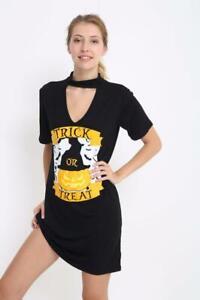 New Women's Choker Neck Trick OR Treat  Matel T-Shirt Ladies Mini Dress Top 8-26