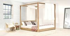 Handmade Wooden Low Four Poster Bed - By Get Laid Beds