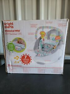 Bright Starts Whimsical Wild Cradling Bouncer Seat w Soothing Vibration Melodies