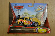 DISNEY CARS PLASTIC TOY CAR CHARACTER JEFF CORVETTE PULL BACK MOTION YELLOW
