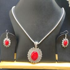 Silver Oxidized red gem stone vintage Pendant Earring Chain Necklace Set Jewelry