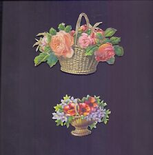 2 Nice Vintage Scraps Flowers Largest aprox 125 x 85 mm all scanned (SB 19)