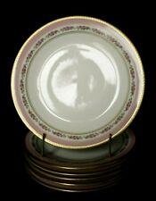 6 assiettes à dessert en porcelaine de Limoges décor guirlande de roses d. 20,5