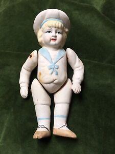 Antique Thuringia Doll German Unglazed Porcelain China Boy Sailor Moving Limbs