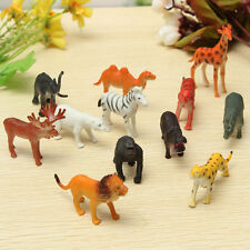 Hot 12PCS/set Plastic Zoo Animal Figure Tiger Leopard Hippo Giraffe Kids Toy