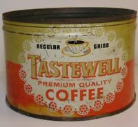 Vintage 1940s TASTEWELL COFFEE GRAPHIC KEYWIND COFFEE TIN 1 ONE POUND CALIFORNIA