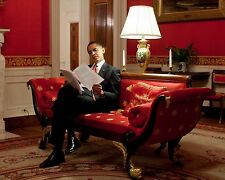 President Barack Obama reads notes in Red Room of the White House Photo Print