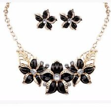 New Gold Toned Black Flower And Clear Rhinestone Bib Necklace Earrings Set