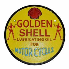 Golden Shell Huile Carburant ronde fonte Signe Plaque Mur Garage essence atelier