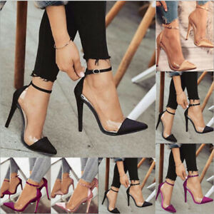 Womens PVC Stiletto High Heels Pointed Toe Party Ankle Strap Sandals Pumps Shoes