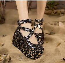Sweet Women's Cross Strappy Mary Janes Skull Printed Creepers Lolita Shoes Pumps