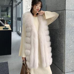 Womens Parka Faux Fox Fur Coat Waistcoat Long Vest Jacket Winter Warm Outwear