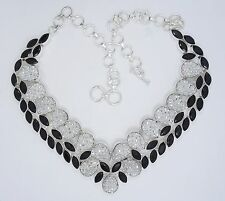 "SPARKLING STERLING &  ONYX CLUSTER NECKLACE ~ 22"" max / 116.8 g"