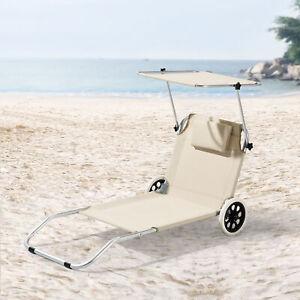 Sonnenliege Gartenliege Strandliege Transportliege mit Sonnendach Rollbar Beige