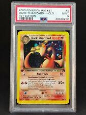 PSA 9 Dark Charizard #4 Holo 1st Edition Team Rocket 🔥 Mint 2000 WotC Pokemon.