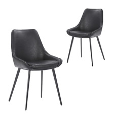 Simplife Daimyo Faux Leather Dining Chair - Vintage Black (Set of 2)