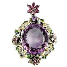 58ct REAL AMETHYST RHODOLITE RUBY TOURMALINE STERLING 925 SILVER  FLOWER PENDANT