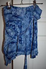 Women's My Girl Branded Deep Blue Hippy Floral Print Wrap Skirt Size 6 BNWOT