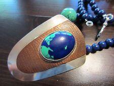 Unique VTG Huge Designer MATHEWS Sterling Signed&Azurite&Copper Pendant/Necklace