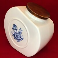 "Hyalyn Porcelain Cookie Jar with Lid 206-D Blue Floral USA 10"" Tall"
