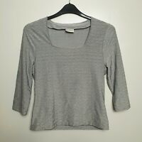 MINUET (UK Size 14) Grey/Green Soft Comfort Top 3/4 Long Sleeve Square Neck