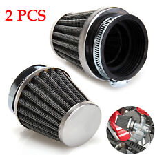 2X Motorcycle 54mm Tapered Chrome Pod Air Intake Air Filters Hose Clamp Durable