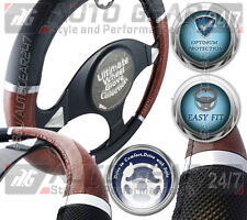Wood Effect and Black Dotted Grip Touch Steering Wheel Cover Glove G1