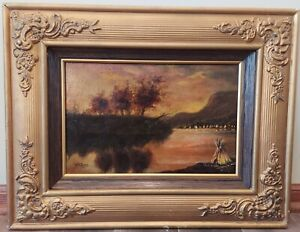 Antique 1890's HH Bagg Signed Original Oil On Canvas Painting Wolf River & Frame