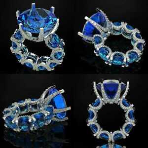Beautiful Right Hand Ring White Gold Plated Sim Sapphire U Setting Fine Handmade