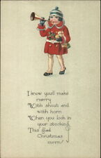 Christmas - Little Girl Winter Jacket Blowing Horn - Poem c1915 Postcard