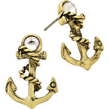 Anchor Fashionable Earrings - Stud - Gold Burnished