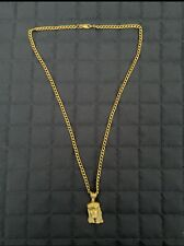 Gold Cuban Link Chain With Jesus Piece Men's 18k 5Mm 18 Karat Solid Yellow