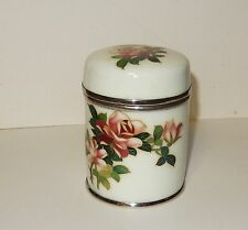 CLOISONNE WHITE GINBARI ENAMEL FLORAL DESIGN HUMIDOR JAR BOX