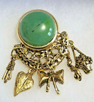"Vintage Gold Tone Brooch Pin Large 1"" Cabochon Green Stone Link Dangles"