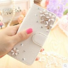 Leather Wallet Phone Case Bling Diamond Floral Cover Fit For For Samsung Galaxy
