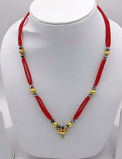 VINTAGE ANTIQUE 20K GOLD PENDANT BEAD NECKLACE AMULET TRADITIONAL TRIBAL JEWELRY