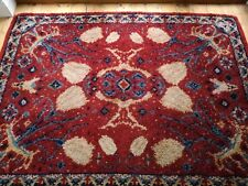 Thick wool Turkish hand woven rug depicting Tulips vgc