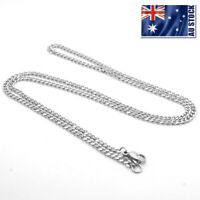 Wholesale 316L Stainless Steel 3MM Flat Curb Link Necklace NK Chain For Pendants