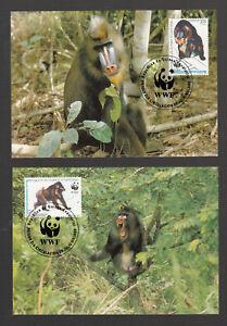 Guinea-Ecuatorial WWF Monkey Mandrill / Singe Mandrill on 4 beautiful MC MK
