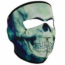 Black Green Paint Skull Camo Neoprene Full Face Mask Biker Reversible To Black