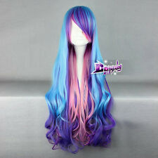 My Little Pony Princess Celestia Blue Purple Pink Mix 32'' Long Cosplay Wig