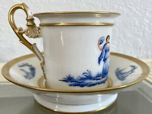 Sevres Style Hand Painted Signed Demi Tasse Cup And Deep Well Saucer