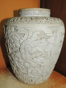 """Antique White Cinnabar 9"""" Vase lacquer brass deep carving Chinese Qing/ Republic"""