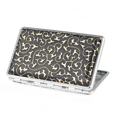 Arabesque Pattern Leather Metal Cigarette Case for 100's Cigarettes Gold