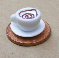 1:12 Scale Coffee In A White Ceramic Cup + Saucer Dolls House Miniature D4