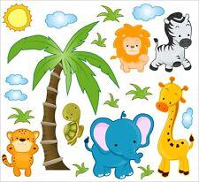 Jungle Safari Children's Playroom Nursery Multi Bedroom Stickers Wall Art 108 XBig 120cm/110cm