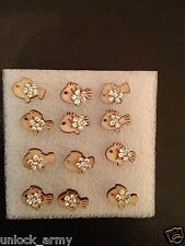 The Little Fish Swarovski Crystal Bling Handmade Stud Earrings Brown 6 Pairs A28