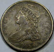 1837 R.E. Capped Bust Half Dollar Choice AU+... So Nice and Original, Great Coin